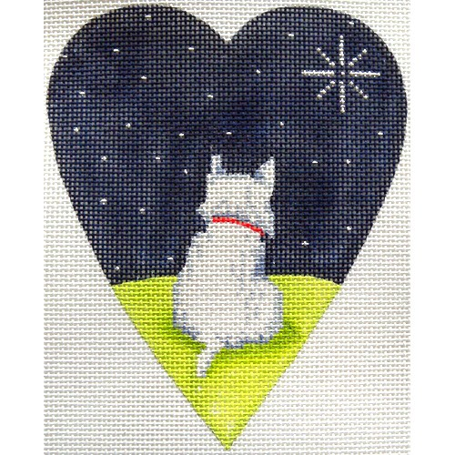 click here to view larger image of White Highland Terrier Midnight Heart (hand painted canvases)