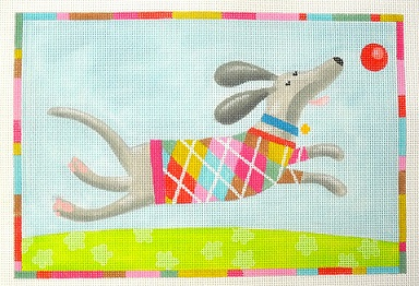 click here to view larger image of Flotsam (Dog Argyle Pattern) (hand painted canvases)