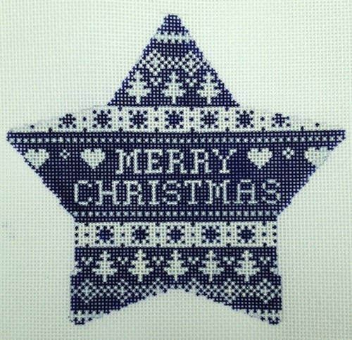 click here to view larger image of Navy Nordic Star Merry Christmas (hand painted canvases)