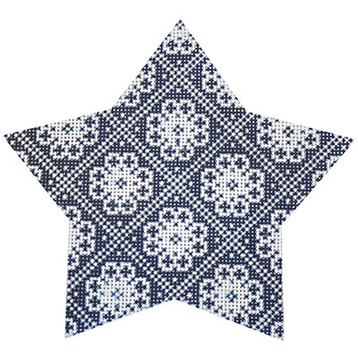 click here to view larger image of Navy Nordic Star Trellis (hand painted canvases)