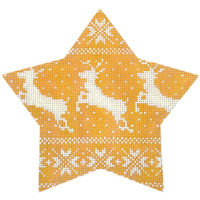 click here to view larger image of Nordic Reindeer Xmas Star Gold (hand painted canvases)
