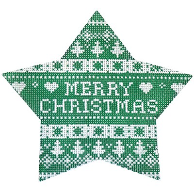 click here to view larger image of Green Nordic Star Merry Christmas (hand painted canvases)
