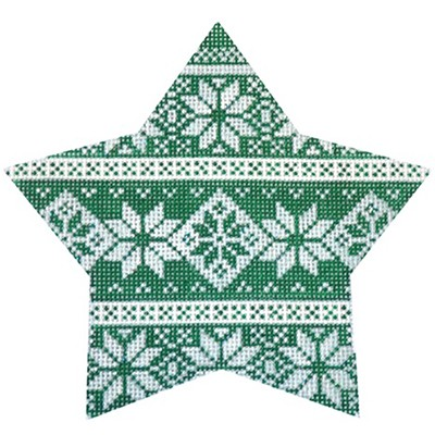 click here to view larger image of Green Nordic Star Stripe (hand painted canvases)