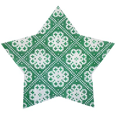 click here to view larger image of Green Nordic Star Trellis (hand painted canvases)
