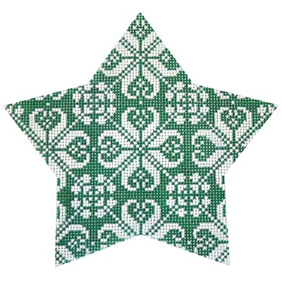 click here to view larger image of Green Nordic Star All - Over (hand painted canvases)