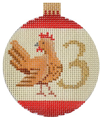 click here to view larger image of 12 Days Bauble - 3 French Hens (hand painted canvases)