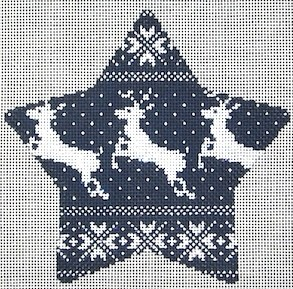click here to view larger image of Nordic Reindeer Xmas Star Navy (hand painted canvases)