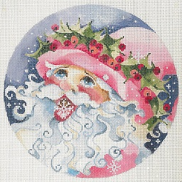 click here to view larger image of Santa - Holly - Snowflakes Ornament (hand painted canvases)