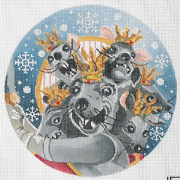 click here to view larger image of Seven-Headed Mouse King Ornament (hand painted canvases)