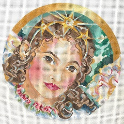 click here to view larger image of Angel With Star Tiara Ornament (hand painted canvases)