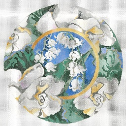 click here to view larger image of Lily Of the Valley - Gardenia Border Ornament (hand painted canvases)