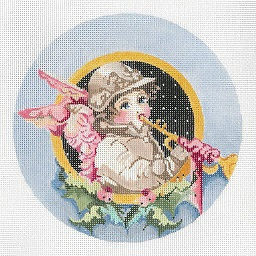 click here to view larger image of Angel Blowing Trumpet Ornament (hand painted canvases)