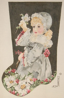 click here to view larger image of Lettie - Christmas Rose Stocking (hand painted canvases)