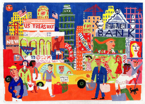click here to view larger image of City Scene (hand painted canvases)
