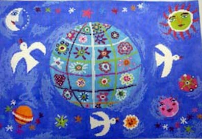 click here to view larger image of Blue World (hand painted canvases)