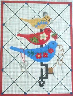 click here to view larger image of Sewing Birds (hand painted canvases)