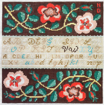 click here to view larger image of Red Rose Sampler (hand painted canvases)