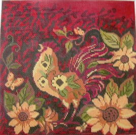 click here to view larger image of Red Woodland Rooster (hand painted canvases)