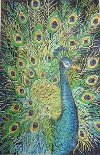 click here to view larger image of Peacock Profile (hand painted canvases)