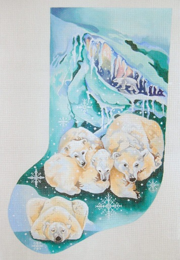 click here to view larger image of Polar Bears In Ice Cave - Snowflakes Stocking (hand painted canvases)