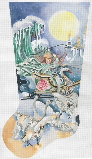 click here to view larger image of Snow Queen Stocking (hand painted canvases)