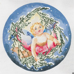 click here to view larger image of Angel In Flight - Spruce Outline Circular (hand painted canvases)