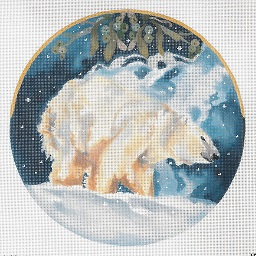 click here to view larger image of Polar Bear Shaking Off Snow Circular (hand painted canvases)