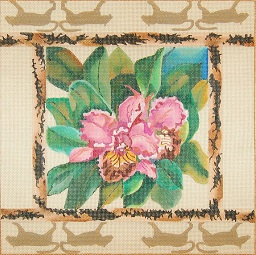 click here to view larger image of Pink Orchids - Tiger Border (hand painted canvases)