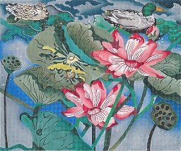 click here to view larger image of Pink Lotus With Ducks (hand painted canvases)