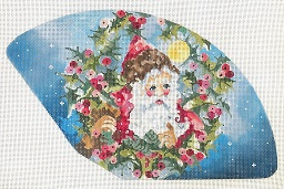 click here to view larger image of Santa, Holly & Moon Fan (hand painted canvases)