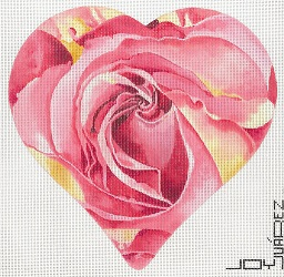 click here to view larger image of Peace Rose Heart (hand painted canvases)