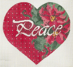 click here to view larger image of Peace - Poinsettia Heart (hand painted canvases)