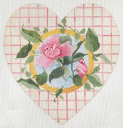 click here to view larger image of Rose Insert - Lattice Pattern Heart (hand painted canvases)