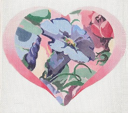 click here to view larger image of Petunia - Floral Heart (hand painted canvases)