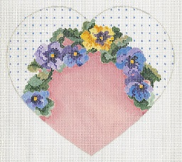 click here to view larger image of Pansy Collection Heart (hand painted canvases)