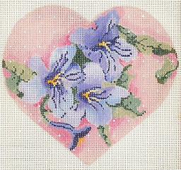 click here to view larger image of Three Petunias Heart (hand painted canvases)