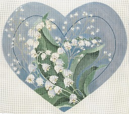 click here to view larger image of Lily Of The Valley Heart (hand painted canvases)