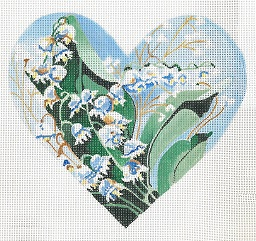 click here to view larger image of Lily Of The Valley Ring Pillow (hand painted canvases)
