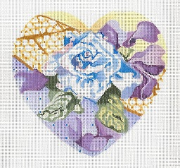 click here to view larger image of Blue Rose Heart (hand painted canvases)