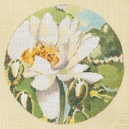 click here to view larger image of White Water Lily - Linen (hand painted canvases)