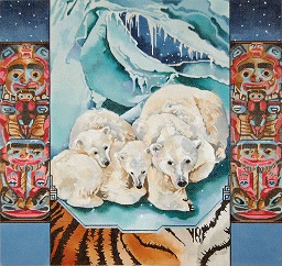 click here to view larger image of Polar Bears In Ice Cave - Totem Poles (hand painted canvases)