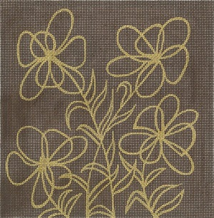 click here to view larger image of Floral Clam - Brown (hand painted canvases)
