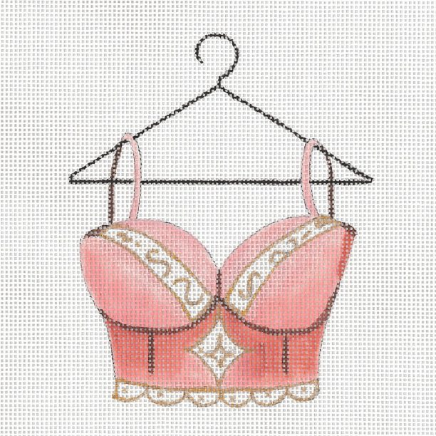 click here to view larger image of Peach Lace Bra (hand painted canvases)
