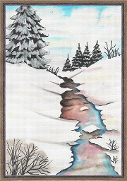 click here to view larger image of Winter Stream (hand painted canvases)