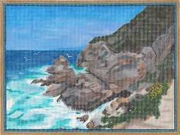 click here to view larger image of Seacoast With Yellow Flowers Off Ponza, Italy (hand painted canvases)