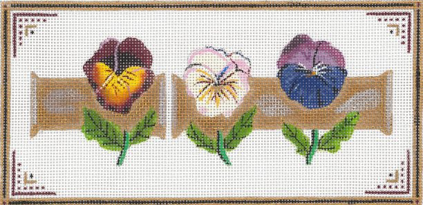 click here to view larger image of Pansy Trio On Bamboo (hand painted canvases)
