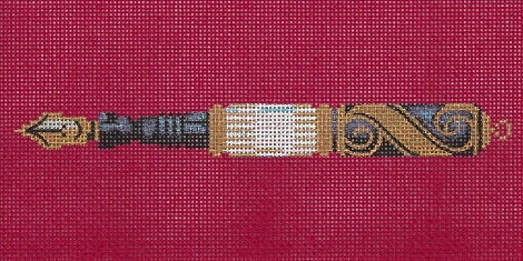 click here to view larger image of Mother -Of- Pearl Pen On Red (hand painted canvases)