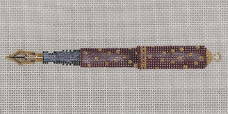 click here to view larger image of Burgundy And Gold Pen On Pewter (hand painted canvases)