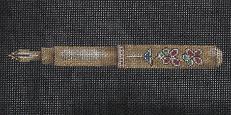 click here to view larger image of Jeweled Gold Pen (hand painted canvases)