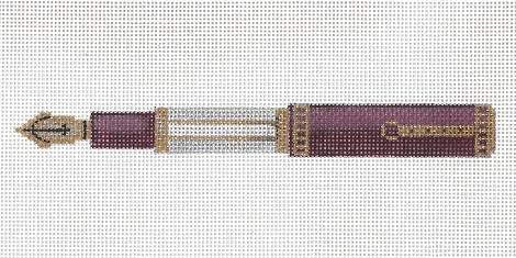 click here to view larger image of Burgundy And Mother -Of- Pearl Pen (hand painted canvases)